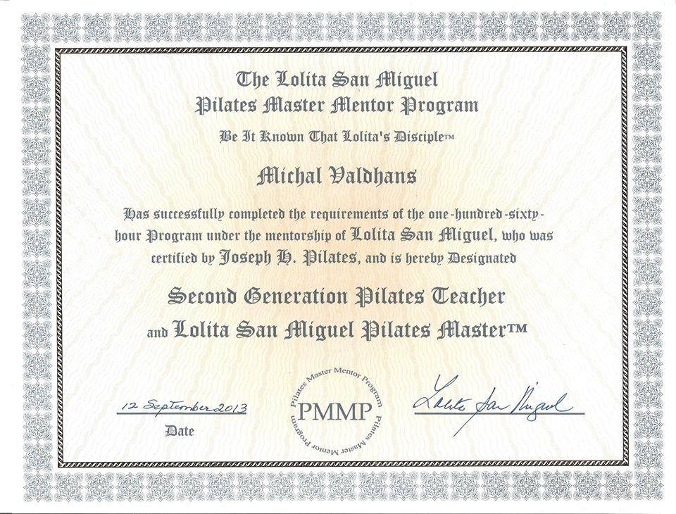 certifikát Second generation pilates